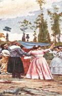 Cuadro tradicional gauchos y chinas bailando el Pericón